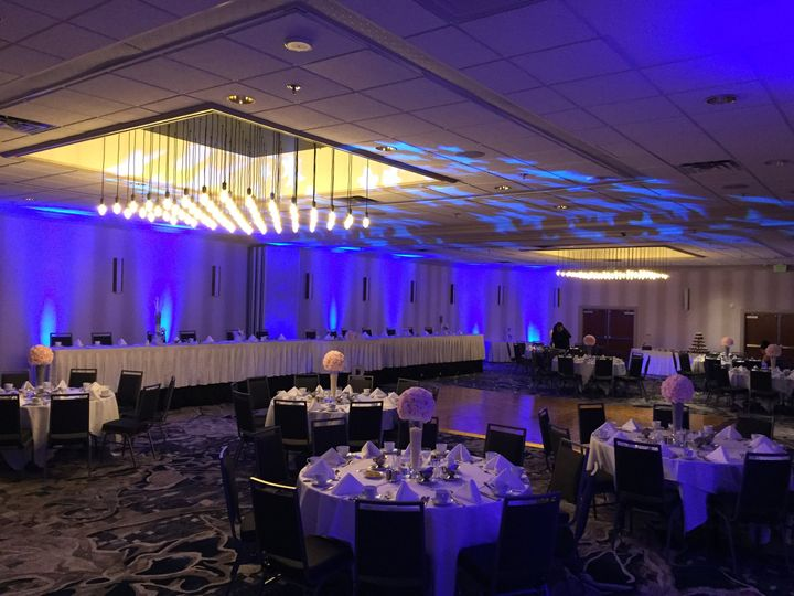 Blue lights at the reception