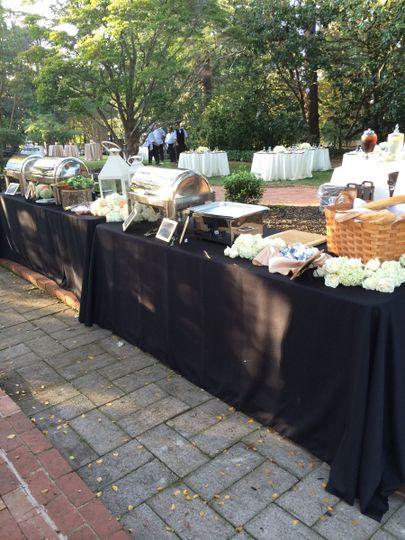 Outdoor buffet setup