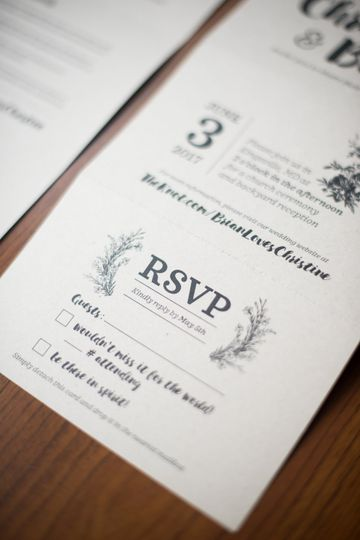 Tri-fold invitation with RSVP postcard