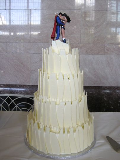 Textured cake with superman topper