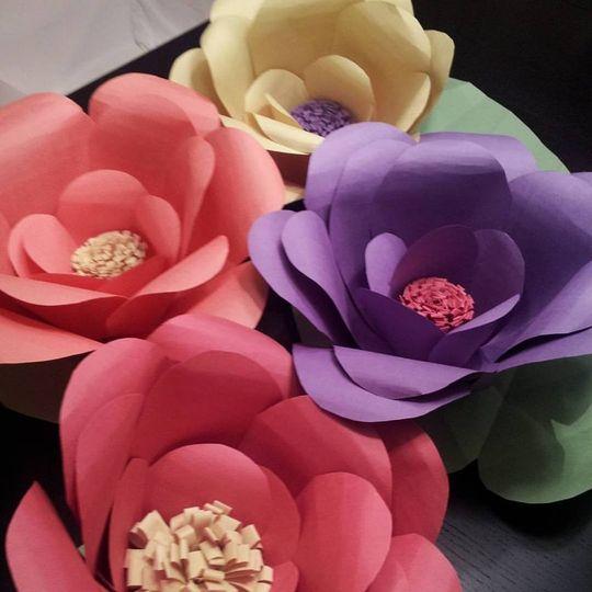 Pastel paper flowers