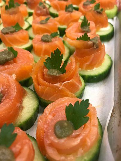 Salmon cucumber canape