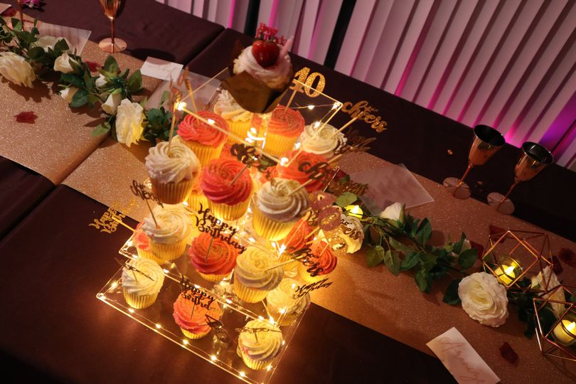 Bright cupcake display