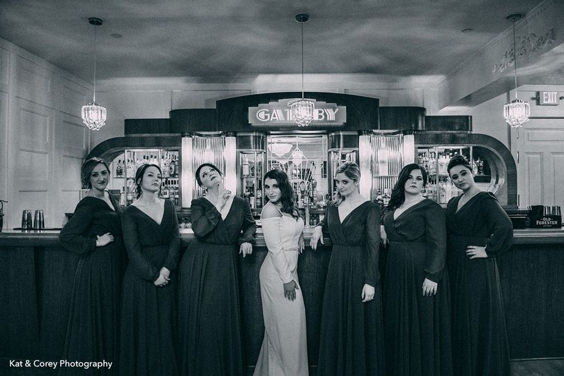 Bridal party at the bar