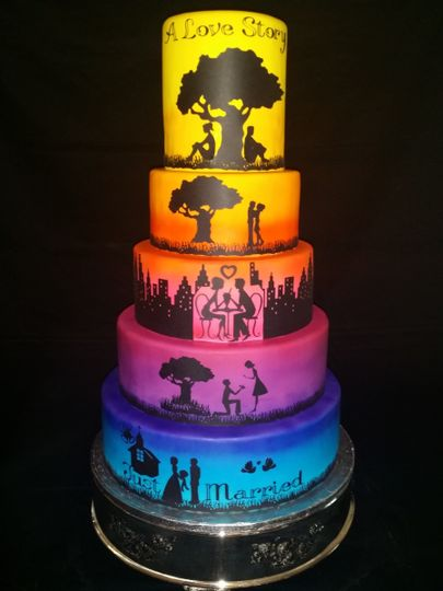 """Coastal Confections Original Creation, our """"Love Story"""" cake, covered in our flavored fondants and..."""