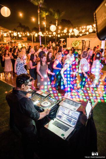 Vario Weddings DJ with Market Lighting, Lanterns, and Dance Floor Lighting