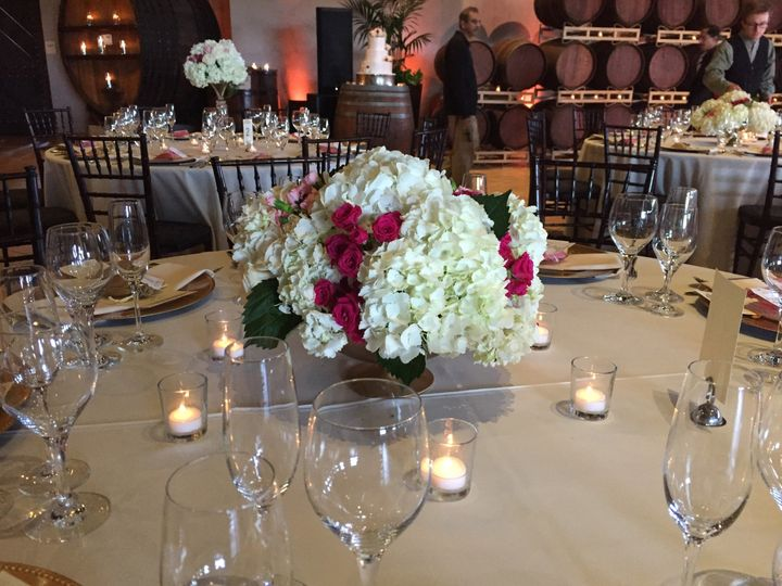 Floral centerpiece and candle lights