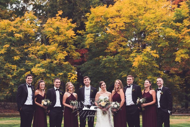 Wedding party in the fall