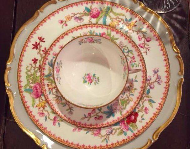 Pink floral vintage plates