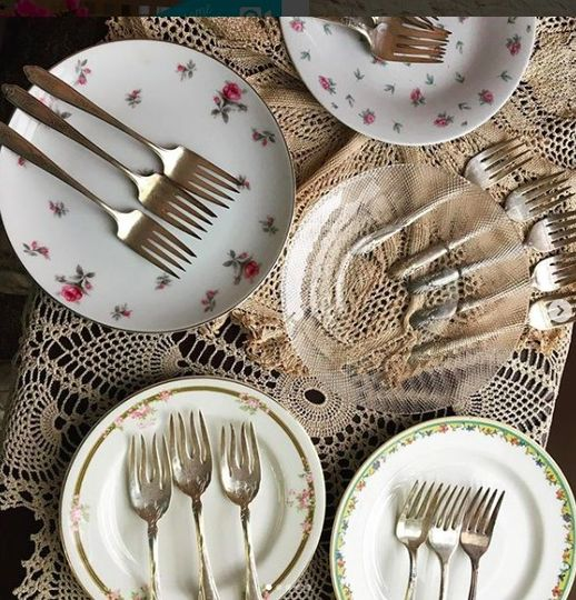 Vintage cake plates & silver