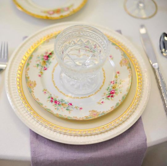 Gold & Pink floral china