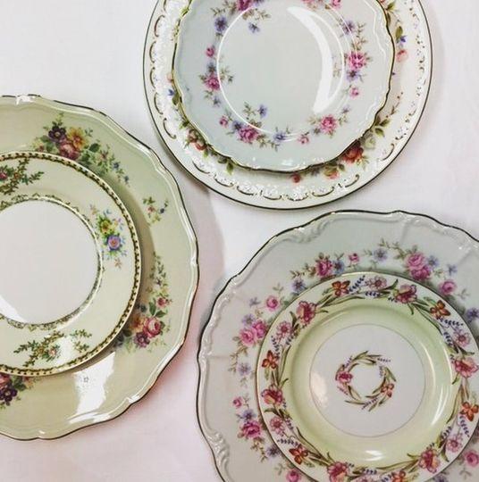 Floral vintage cake plates