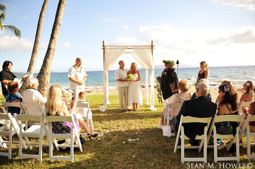 Wedding ceremony on the lawn at Five Palms in Wailea