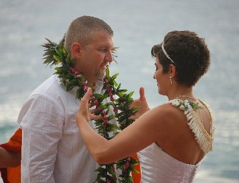 Lei exchange for your Maui beach wedding