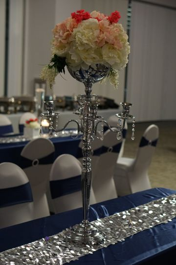 A tall floral centerpiece