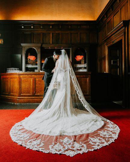 Bride and groom amazing veil