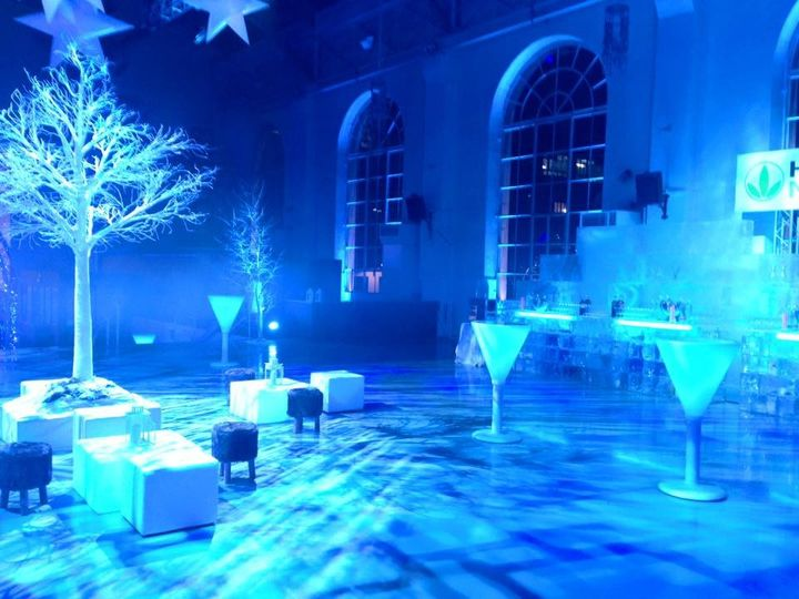 Blue light themed reception