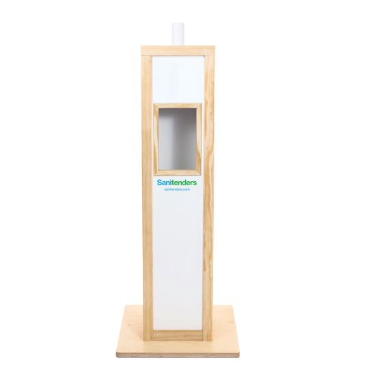 Back of hand-sanitizing station