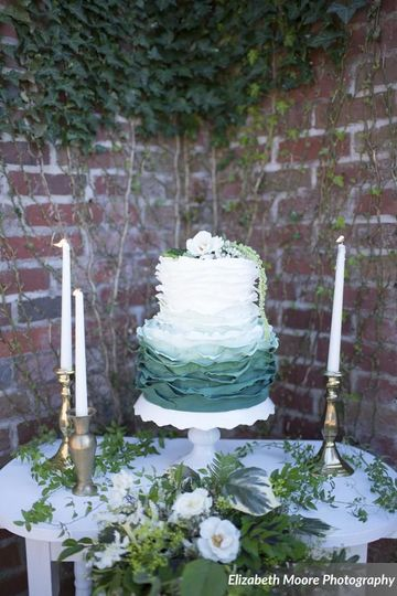2-tier plant themed wedding cake