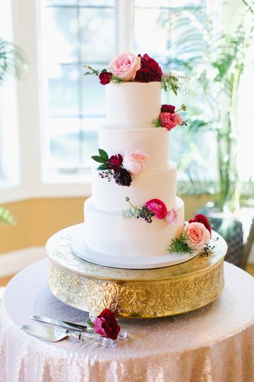 4-tier floral wedding cake
