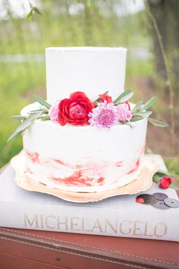 2-tier floral wedding cake