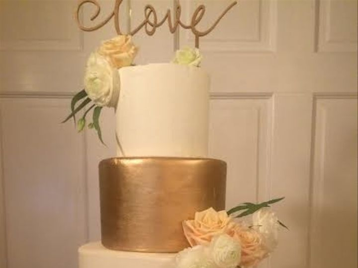 Tmx 1503317792527 Ruffle Pink And Gold Fondant Millersville, Pennsylvania wedding cake