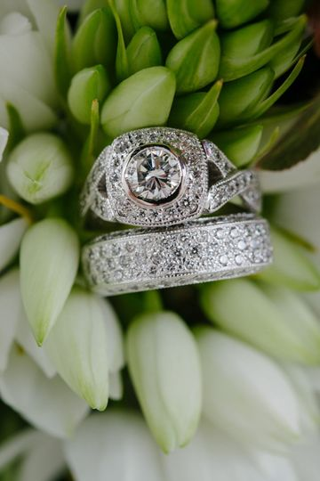 Custom halo engagement ring
