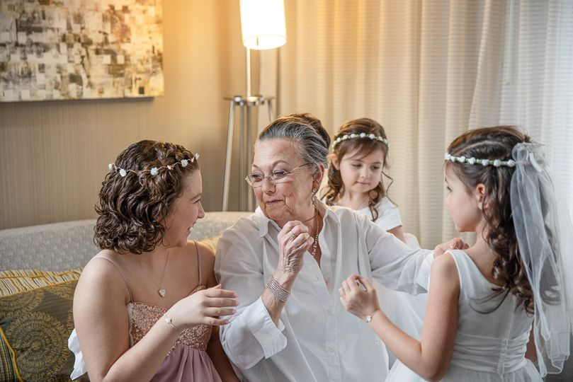Grandmother and flower girls