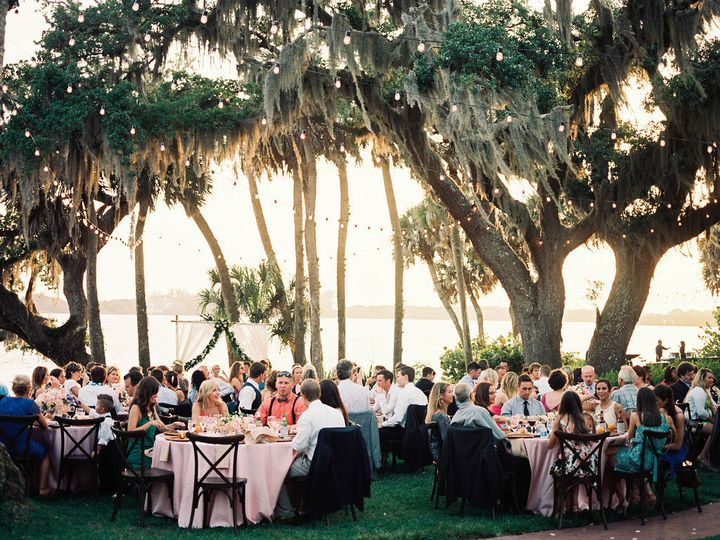 Outdoor waterfront wedding reception