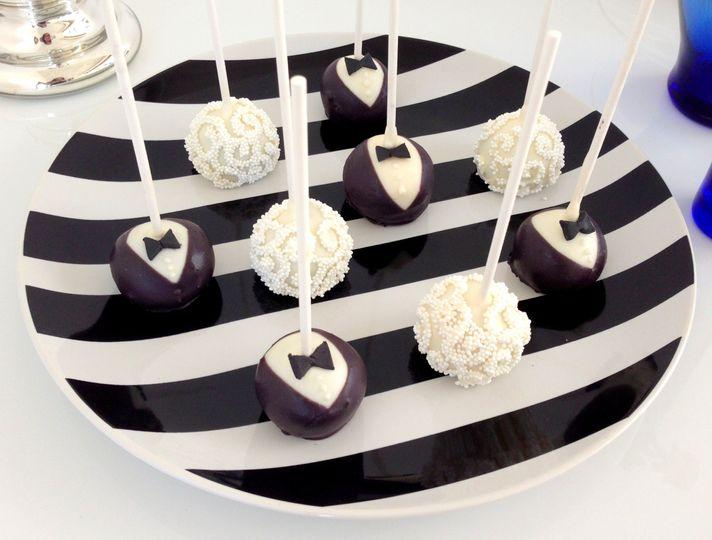 baby beas bakeshop bw wedding cake pops