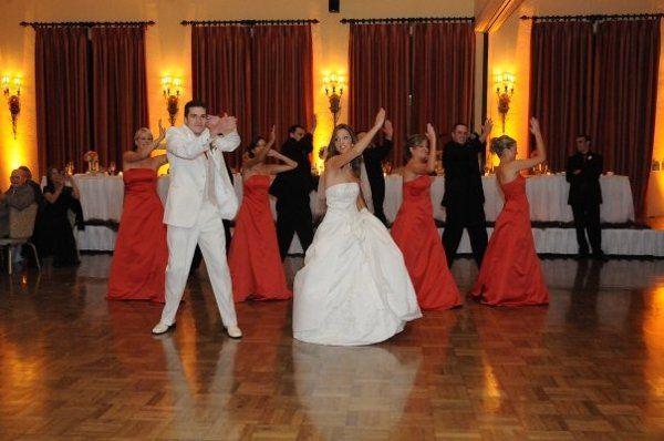Bridal attendants dancing