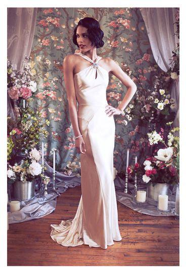 asymetrical halter deco backless satin mermaid wedding dress b