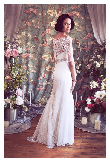 chantilly lace off shoulder trumpet deco mermaid bridal gown b