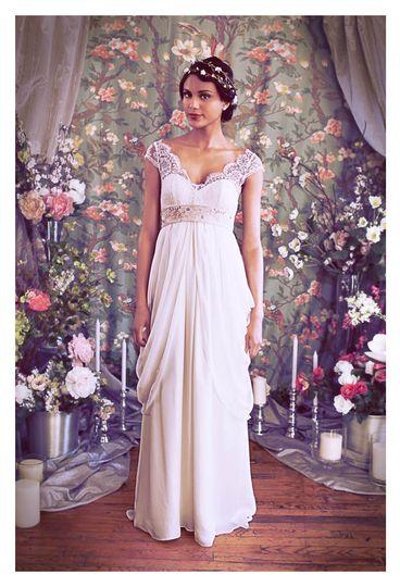 empire lace bohemian jane austen flowy wedding custom a