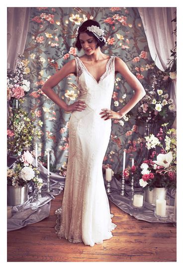 vneck deco gatsby beaded lace 1930s low back wedding dress b