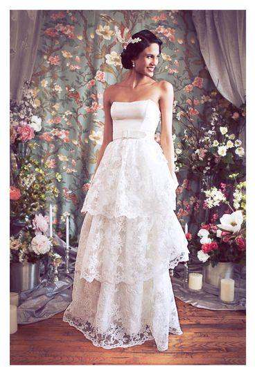 tiered lace strapless ballgown bridal rebecca schoneveld a