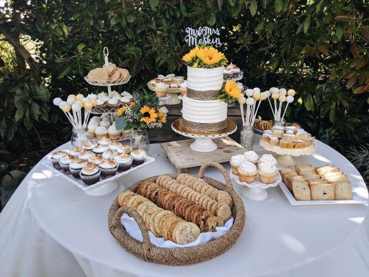 Summery wedding dessert table