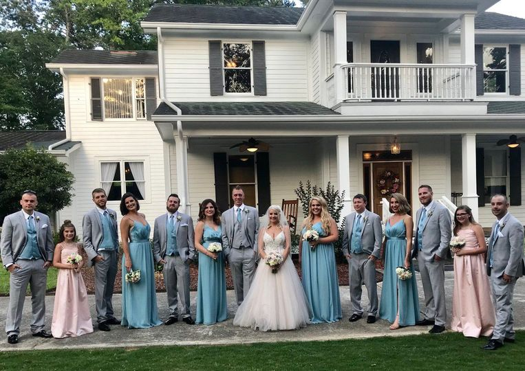 Baby blue and pink wedding