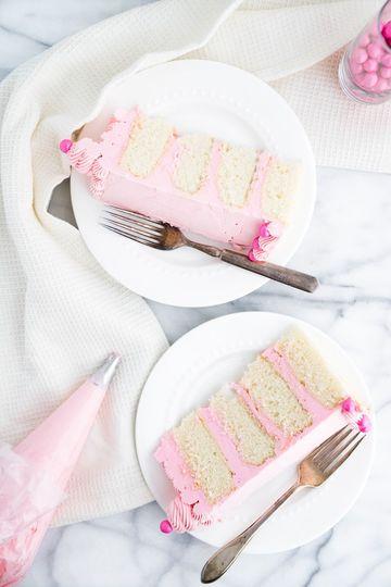 Pink white chocolate cake