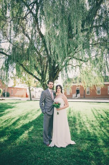 Newlyweds on the lawn
