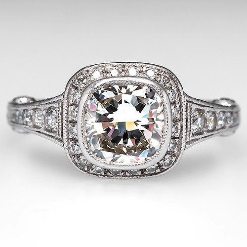 GIA Cushion Cut Diamond Halo Engagement Ring Platinum