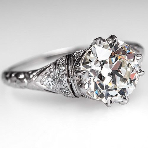 2 Carat Old Diamond Art Deco Engagement Ring Platinum