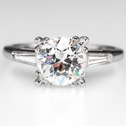 Vintage 1.5 Carat Old Euro Diamond Engagement Ring Platinum