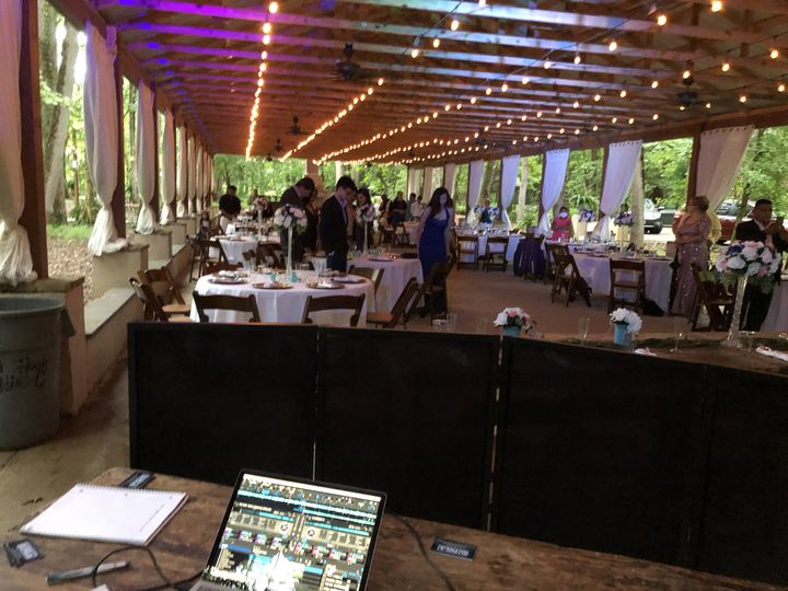 A DJ playing at a wedding