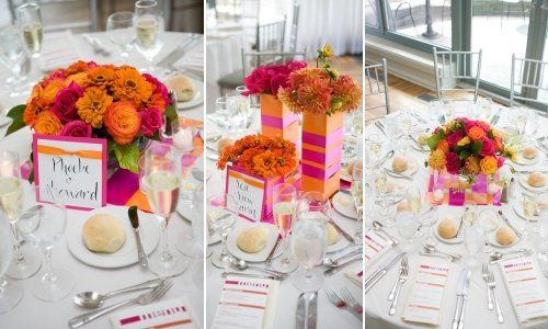 Battery Gardens Restaurant wedding centerpieces