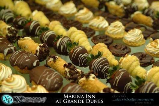 An array of colorful desserts may be arranged.