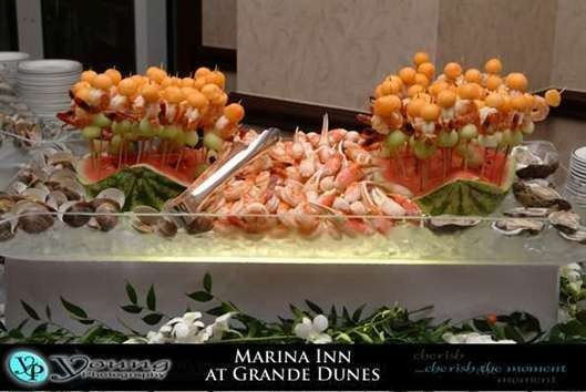 A beautiful seafood display as a catering choice.
