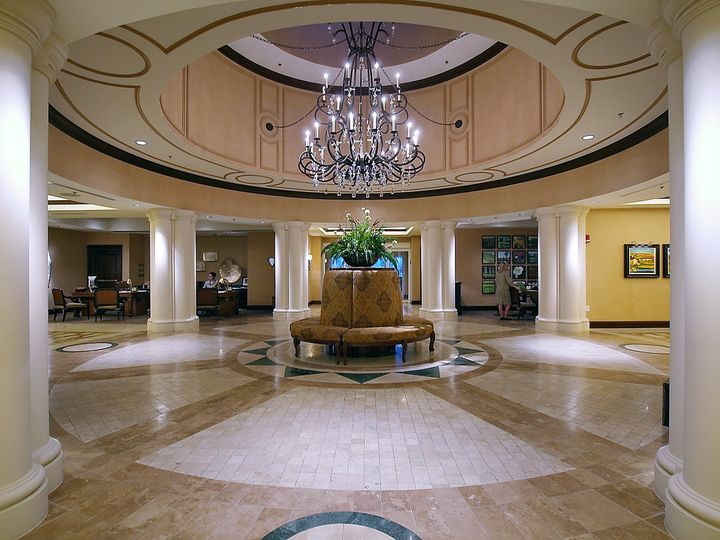 The elegant lobby of the marina inn