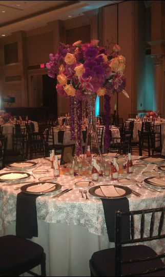 The Nautilus Ballroom can accommodate rounds of 6, 8, 10 or 12 people and works with several floral...