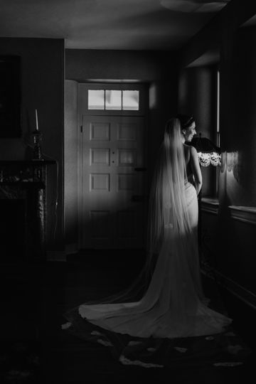 Bride posing in black and white